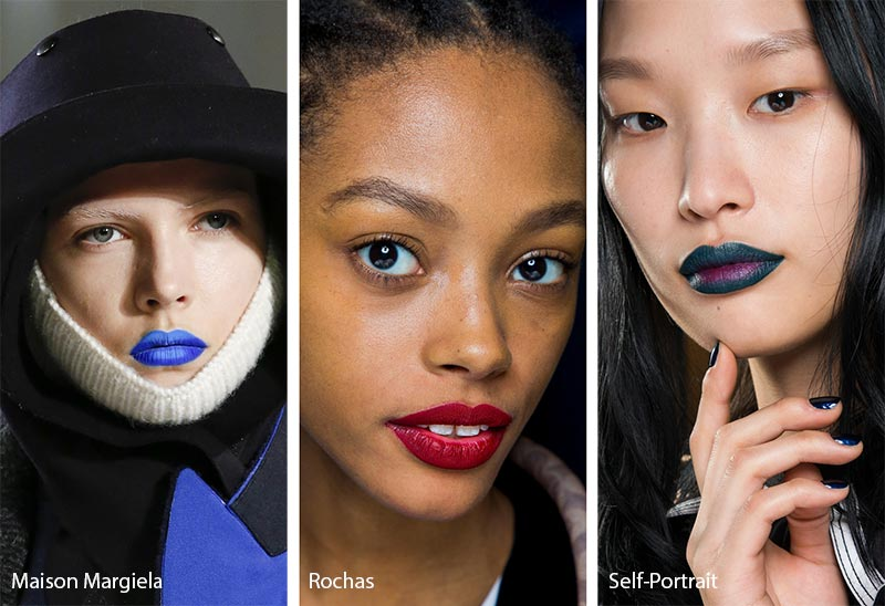 Fall/ Winter 2018-2019 Makeup Trends: Bold Lipstick with Barely There Skin